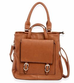A Tan Leatherette Multi Function Tote Bag with Silver Tone Buckle BNWT- £15