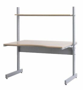 IKEA Jerker Stand Up Desk - birch - with two side shelves