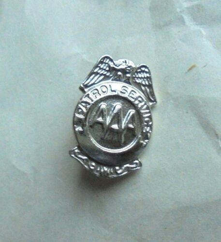 Vintage AAA Patrol Service Insurance Safe Driving Award Lapel Pin Pinback Badge