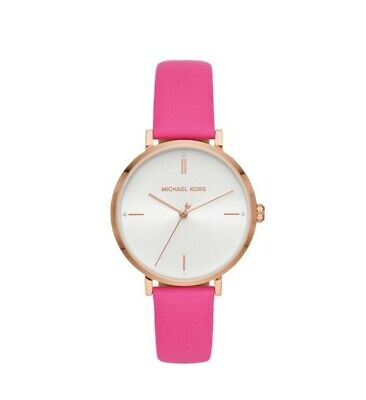 New Michael Kors Women's Jayne Hot Pink Gold-Tone Watch MK7126