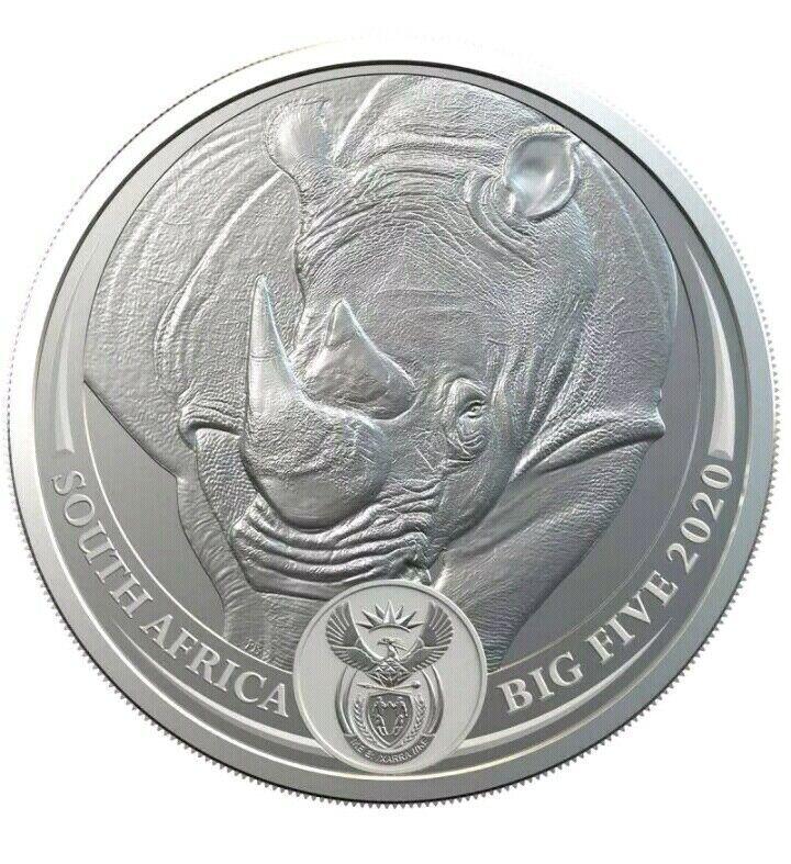 RHINO  - SOUTH AFRICA BIG FIVE  2020 , 5 Rand 1 oz BU Silver Coin