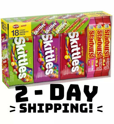 Skittles Starburst, Fruity Candy Variety Box, 18 Single Packs