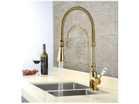 Gold kitchen tap with pull out spray