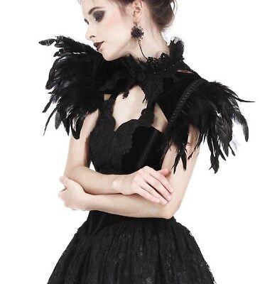 Dark in Love Black Velvet & Feathers Capelet Bolero Gothic Victorian - Velvet Capelet