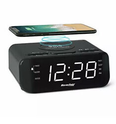 REACHER Digital Radio Alarm Clock with Wireless Charging - USB Port, Large