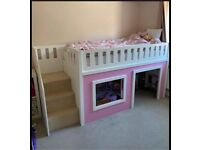 Girls bunk bed with play space underneath