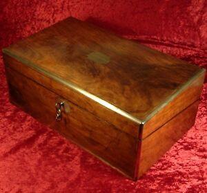 ANTIQUE BRASS BOUND FIGURED WALNUT WRITING SLOPE BOX c1870 with secret drawers