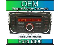 Ford 6000 CD player, Ford C-Max car stereo headunit with Radio Code