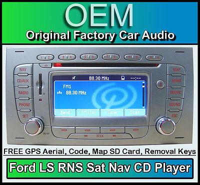 Ford Focus Sat Nav CD player, Silver Ford LS RNS car stereo radio + Map SD Card