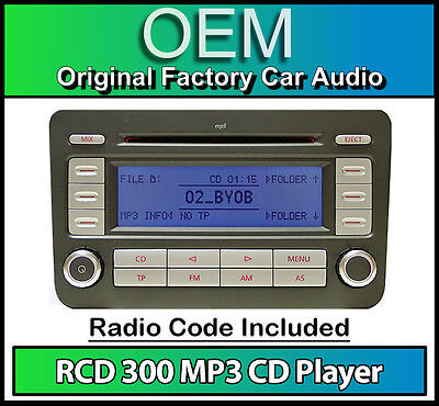 VW RCD 300 MP3 CD player radio, Golf Plus car stereo head unit with radio code