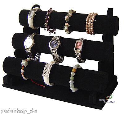 3er Schmuckständer Schmuckhalter für Uhren Armband Samt