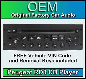 PEUGEOT-PARTNER-AUTORADIO-CD-LETTORE-RD3-radio-GRATIS-numero-di-Telaio-CODICE