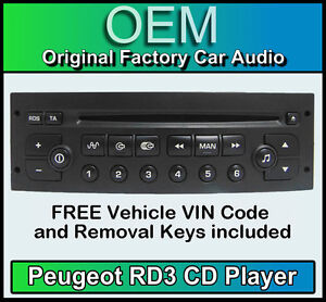 Peugeot 307 car stereo CD player Peugeot RD3 radio + FREE Vin Code and keys