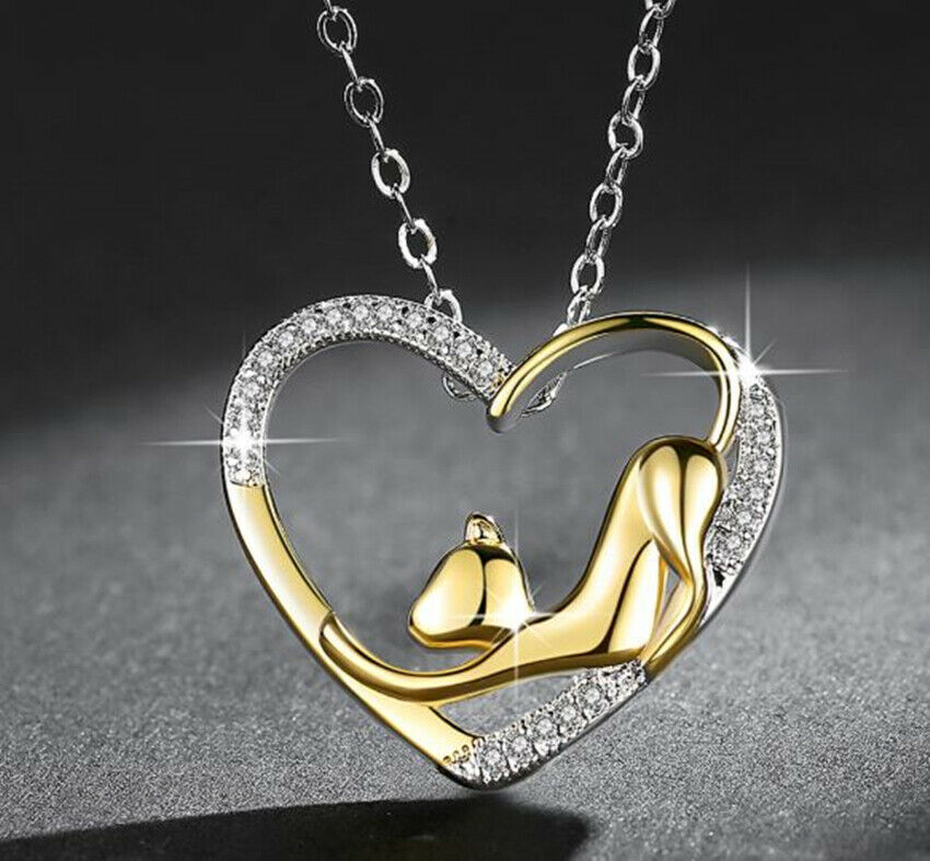 Jewellery - Gold Heart Cat Pendant 925 Sterling Silver Necklace Chain Jewellery Womens Gifts