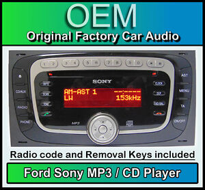Ford Sony CD MP3 player, Ford Fiesta car stereo radio with code and removal keys