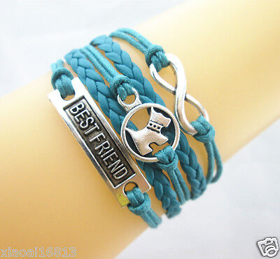 Hot Lovely Infinity/Dog/Best Friend Charms Leather Braided Bracelet (Teal Blue) - Hot Blue Bracelet Charms