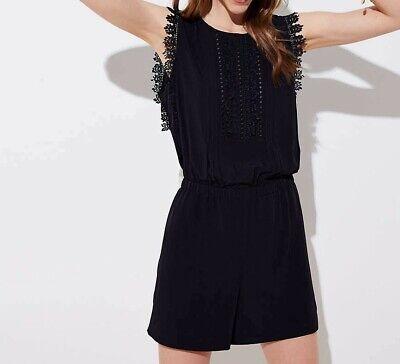 NWT! Ann Taylor LOFT Black Lace Trim Short Romper Sz XS S M L Black Lace Trim Short