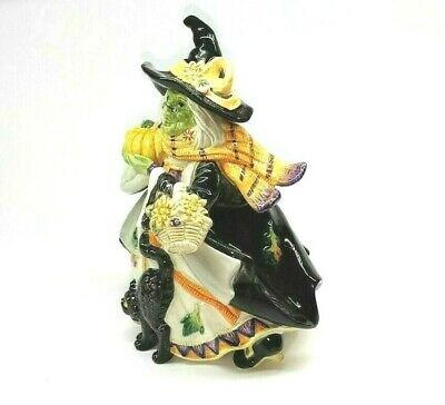 FITZ & FLOYD Halloween Harvest Witch 2 pcs Candy Jar Lidded Box 2003 68/531 NIB