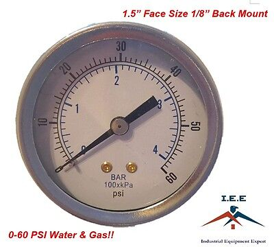 Quality 18 Npt Air Pressure Gauge 0-60 Psi Back Black Steel Mount 1.5 Face
