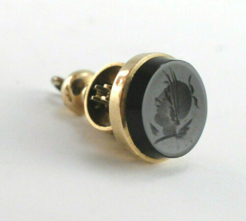 Victorian Sardonyx Watch Fob 14k Yellow Gold
