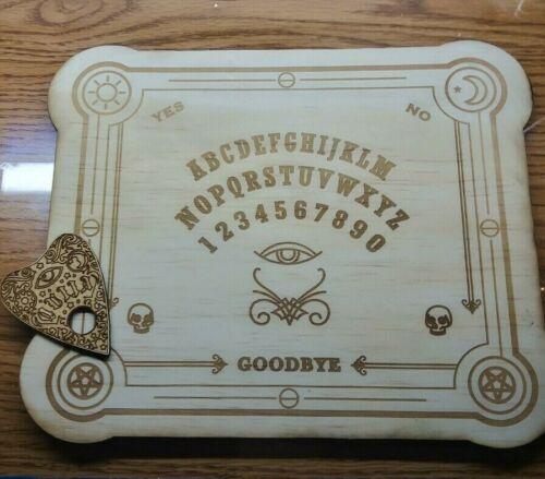 Wooden  Engraved Ouija Board & Planchette   Wood Spirit Board