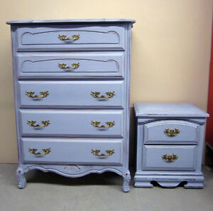 Restyled vintage dresser and bedside table/ shabby chic look