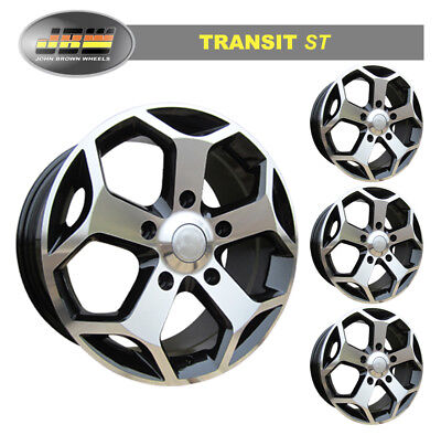 """8""""x18"""" JBW TST BLACK MACH/FACE ALLOY WHEELS TO SUIT FORD TRANSIT CUSTOM SET OF 4"""