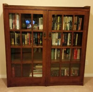 Mission Style Double Glass Door Bookcase