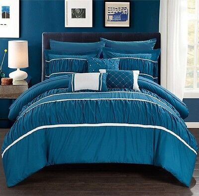 New 10 Piece Comforter Set Bed in a Bag Bedding Sheets King Size Bedspread Teal ()