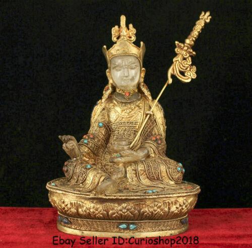"8.4"" Tibet Nepal Copper 24k Gold Gilt Crystal Guru Padmasambhava Rinpoche Statue"