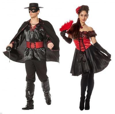 Zoro Zorro Spanier Rächer Bandit Räuber Kostüm Kleid Spanierin Herren Damen Held