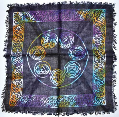 """18"""" Multi Tie Dye Chakra Altar Cloth Wiccan Pagan Altar Supply #97"""