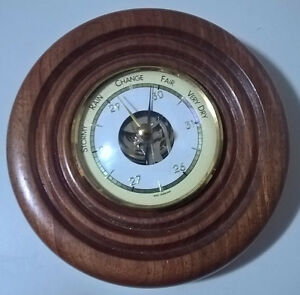 Vintage German Wall Barometer Wood Brass with Small Face