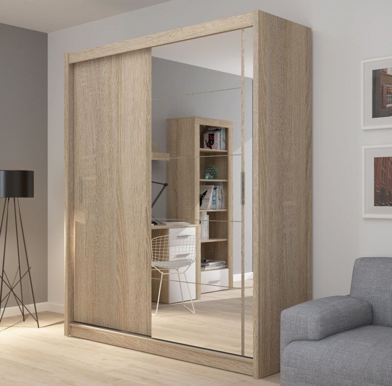 Oak Sanremo Wardrobe with 2 sliding door, mirror 180 cm - FREE DELIVERY !!!