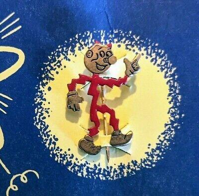 1955 Vintage Reddy Kilowatt The Mighty Atom Pin & Card Ready Running red enamel