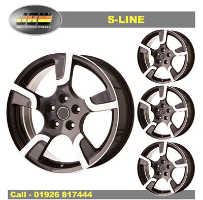 """8 x 18"""" JBW S-LINE BLACK MACHINED WHEELS TO VW T5 SET OF 4 LOAD RATED"""