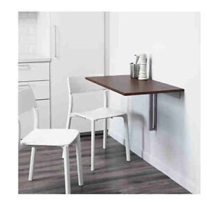 IKEA Burstja wall-mounted drop leaf table - brown