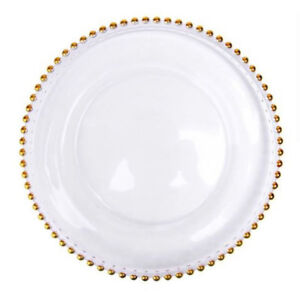 Gold Belmont Crystal Charge Plate for rent - Special $1.75