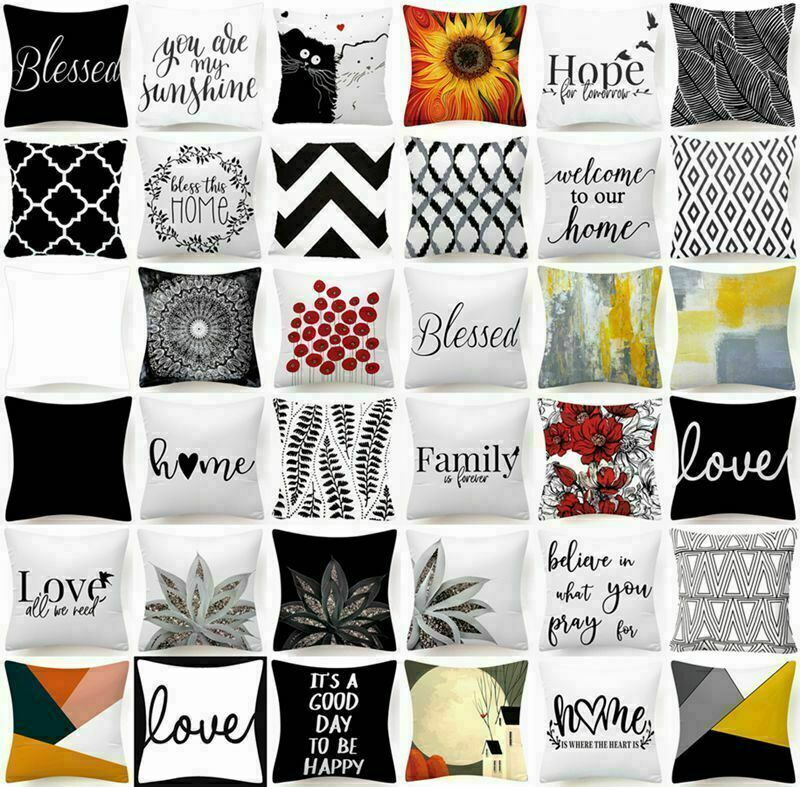 """Cushion COVER White Black Soft Double-Sided Decorative Throw Pillow Case 18x18"""""""