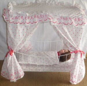 "Metal Canopy Bed  And 18"" Doll"