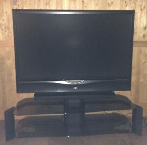 Téléviseur/Écran 52 po + meuble vitré + base pivotante