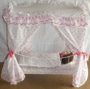"""Metal Canopy Bed  And 18"""" Doll"""