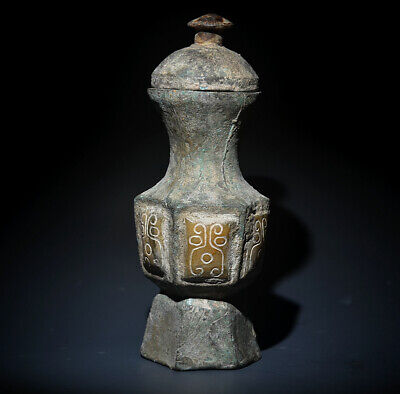Wonderful Chinese Ancient Bronze Inlaid Carved Jade Pieces Pot Vase 6.49
