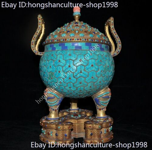 Tibet temple bronze 24k gold Inlay turquoise lapis lazuli Incense burner Censer