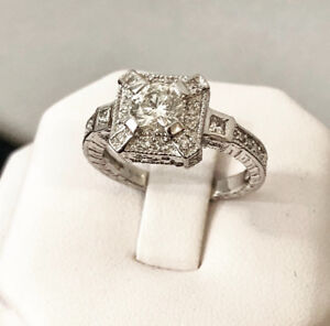 14K White Gold Halo Diamond Engagement Ring /Certified at $8,000