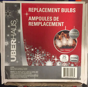 Christmas lights (C9), string, new replacement bulbs, clips, etc