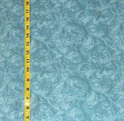 Fabric Jo Ann Quilt Blocks Ocean Breeze  Teal Swirl Tonal  100  Cotton 1 25 Yds