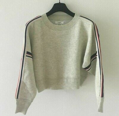 Isabel Marant Etoile Kao Knit Sweater Jumper Striped Bands Light Grey Size 36