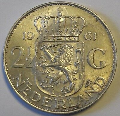 PAYS BAS NIEDERLANDE NETHERLANDS 2 1/2 GULDEN 1961 KÖNIGIN JULIANA SILBER ARGENT