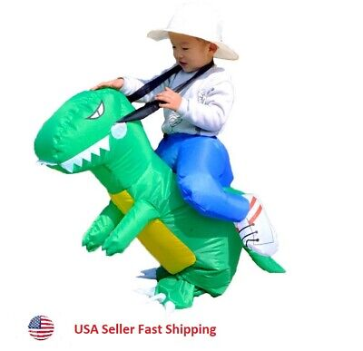 Inflatable Dino Rider Dinosaur Ride Costume Cosplay Halloween Party Green Kids